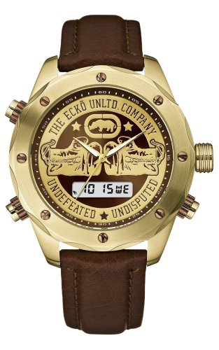 Marc Ecko Men's 'The Victor' Quartz Stainless Steel and Leather Dress Watch, Color:Brown (Model: E16076G1)