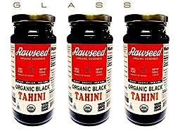 Rawseed Organic Black Tahini 3 Pack of 16 oz Glass Bottles,Kosher.