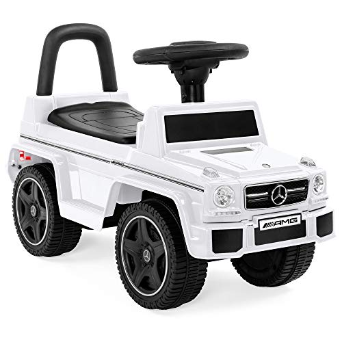 Best Choice Products Kids Mercedes G63 Convertible Foot-to-Floor Push Car Ride-On Toy Buggy w/ Steering Wheel - White