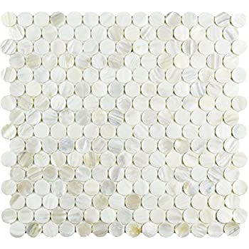 SomerTile GDXCPNN Seashell Penny Natural Shell Mosaic Wall Tile 10 Piece Beige//Brown//Cream 11.25 x 11.63