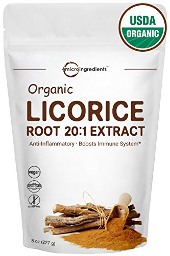 Organic Licorice Root 20:1 Powder, 8 Ounce, Positively Helps Soothe Cough, Sore Throat & Clear & Comfortable Breathing, Non-GMO and Vegan Friendly ()