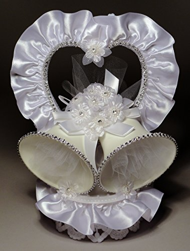 Rhinestone Heart and Double Bells Wedding Cake Topper (300)