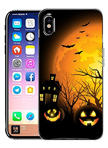 Hard Back Case Cover Shell for iPhone X Halloween Night