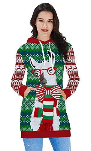RAISEVERN Women's 90s Stylish Alpaca Design Art Christmas Hoodie Dress Tunics Tops Athleisure Pullover Thin Midi Sweater Sweatshirt