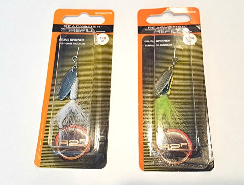 Trout Fish Ready 2 - Ready 2 Fish Spinning Lures (2 Pack), Rooster Tail With Hard Metal Spoon and Treble Hook, Bass, Trout, Pan Fish, Quality Spinner Bait