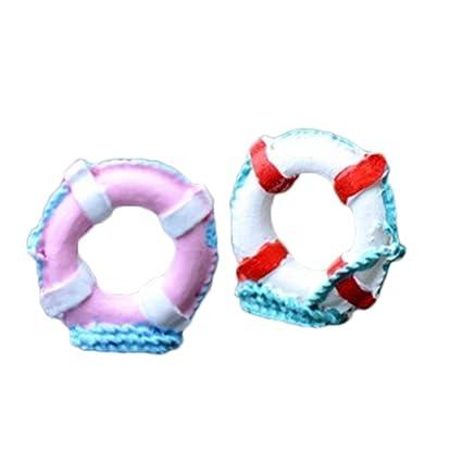 2 x chytaii miniatura decoración modelo de flotador salvavidas para Micro Paisaje DIY
