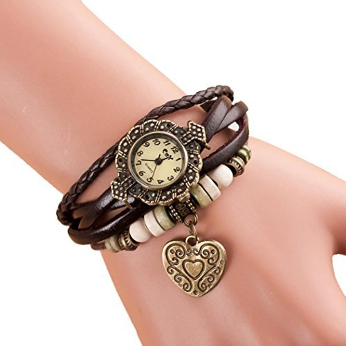 Bracelet Set RIUDA 2016 Quartz Weave Around Leather Bracelet Lady Woman Wrist Watch