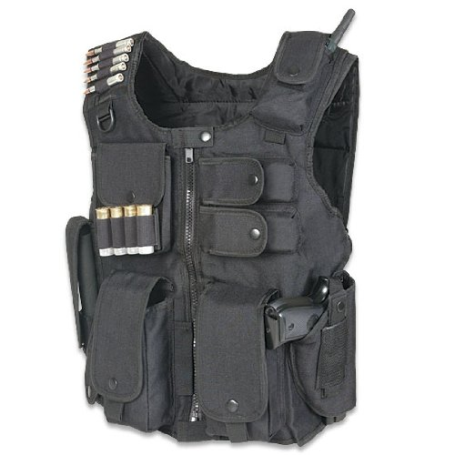 Tactical Entry Operation SWAT Police Military Law Enforcement Assault Vest – Right Handed Black Color, Outdoor Stuffs