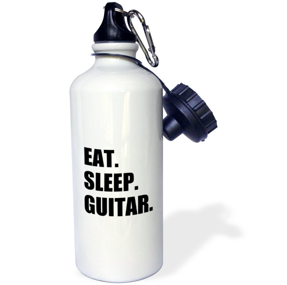3dRose wb/_180408/_1 Eat Sleep Guitar fun text gifts for guitarist musicians music player Sports Water Bottle 21 oz Multicolored