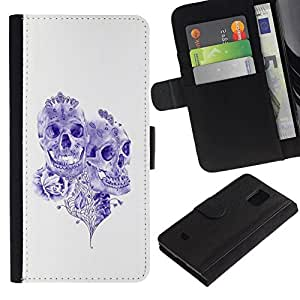 All Phone Most Case / Oferta Especial Cáscara Funda de cuero Monedero Cubierta de proteccion Caso / Wallet Case for Samsung Galaxy S5 Mini, SM-G800 // Purple Ink Tattoo Skull Death Art Rose