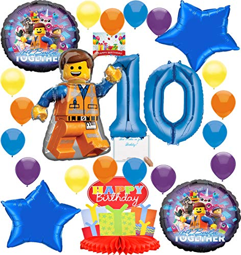 Lego Movie 2 Deluxe Balloon Decoration Bundle for (10th Birthday)