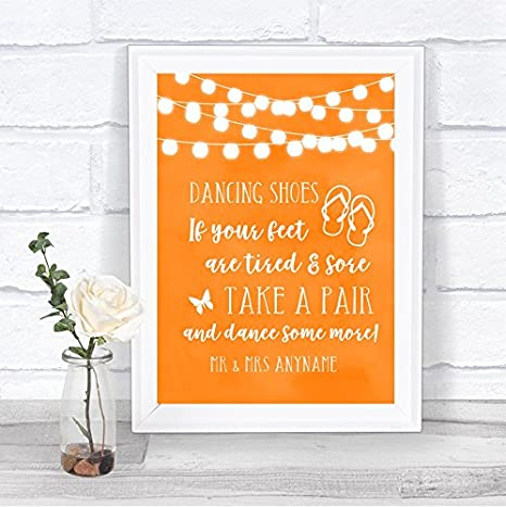 9c0f54bab Amazon.com   Orange Watercolour Lights Dancing Shoes Flip Flops  Personalized Wedding Sign   Office Products