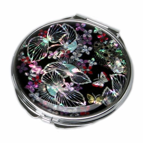 Mother of Pearl Black Cosmetic Makeup Metal Double Compact Purse Mirror with Fallen Leaves Design, 3.2 Ounce