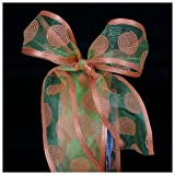 Sunkissed Orange & Lime Green Dissy Nylon & Polyester Sheer Decorative Craft Ribbon