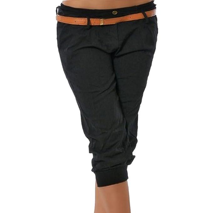 Aelegant Damen Sommer 3 4 Länge Chino Hose Einfarbig Stoffhose Bermuda Shorts  Capri Hose Beiläufige d1c7887af8