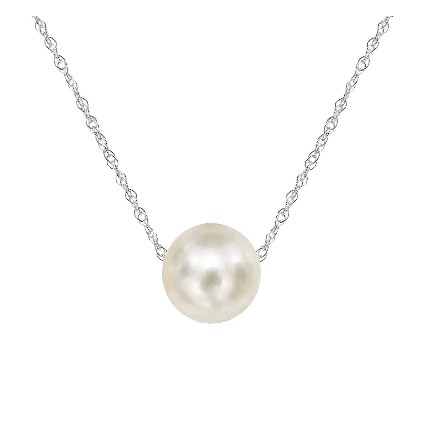 3d7e991625fef Amelery Pearl Necklace Silver White Simulated Single Pendant Pearl 9-10mm  925 Solid Sterling Silver Singapore Chain 18'' Necklaces for Women
