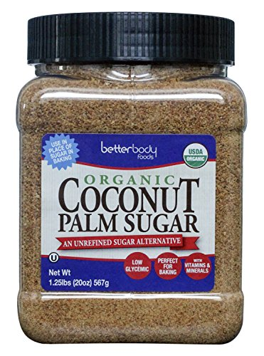 BetterBody Foods Organic Coconut Sugar — A Naturally Low-Glycemic Sweetener and Sugar Alternative, Great Replacement for White Sugar or Refined Sugar, Non-GMO and Gluten Free Certified — 1.25lbs
