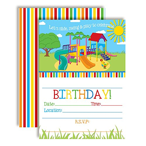 Party in The Park Playground Birthday Party Invitations, 20 5