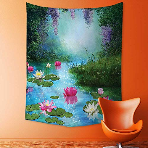 Wall Hanging 3D Printing Tapestry Pond with Water Lilies Floating Romantic Lotus Fairy Tale Digital Art Aqua Pink Wall Tapestry for Dorm Living Room - Water Lily Hanging Tiffany
