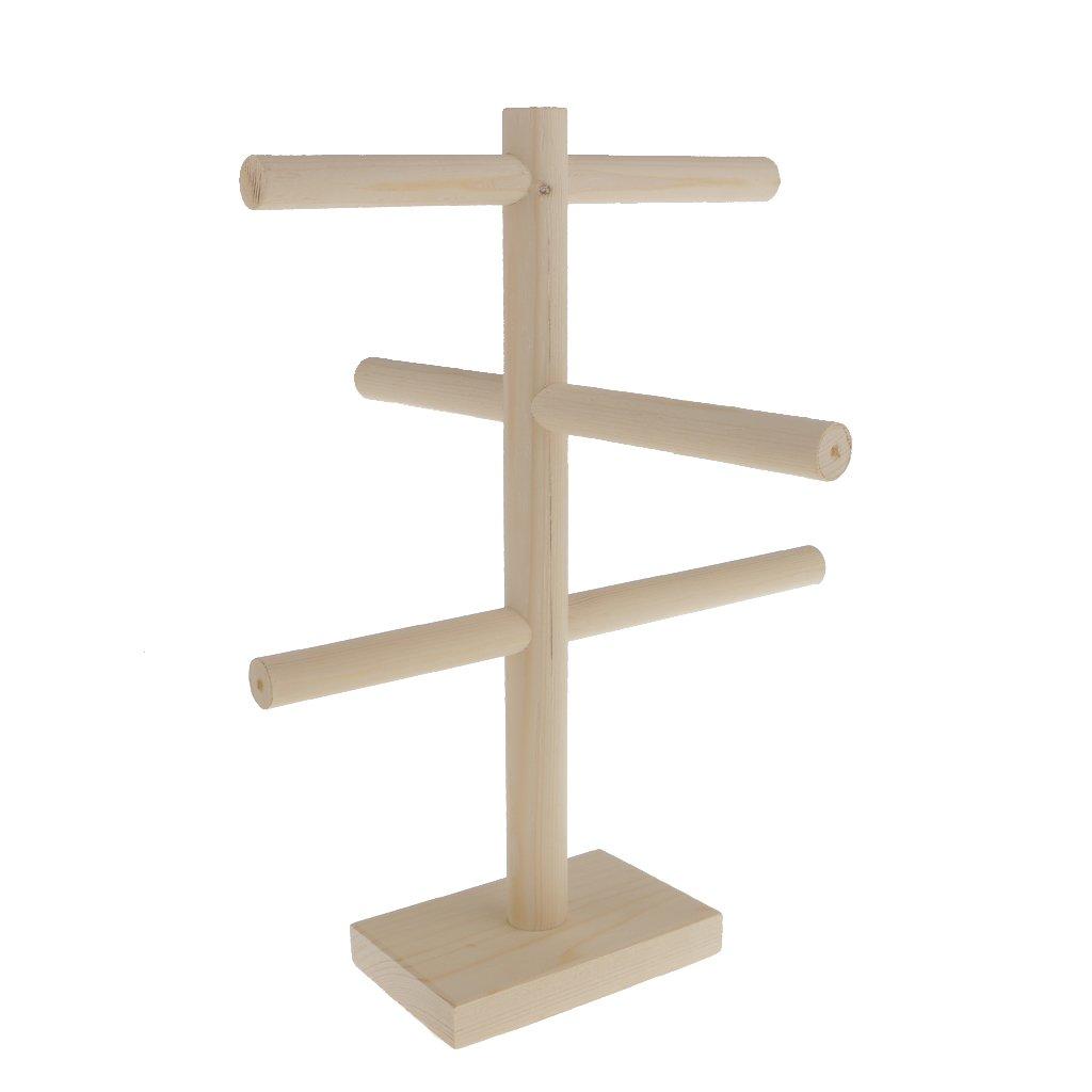 MonkeyJack Unpainted Wooden 3 Tier Jewelry Braclet Anklet Watch Display Holder Stand