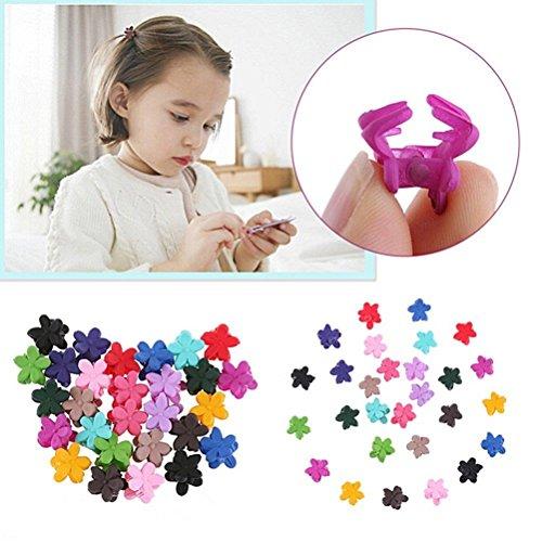 (WWahuayuan 60 Pack Bangs Mini Hair Claw Clip Hair Pin for Little Girls,Flower Kids Women Hair Barrettes Accessories,Assorted Colors)