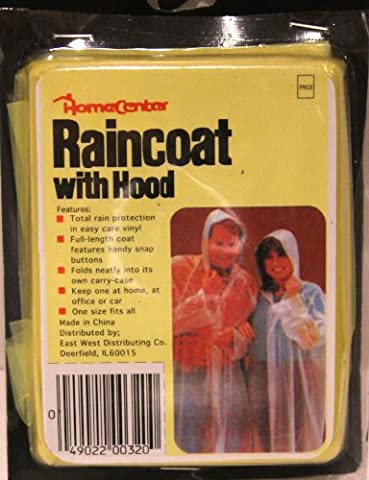 Home Center Plastic Hooded Adult Snap Raincoat Yellow - Coat Center