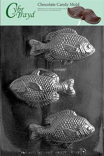 Cybrtrayd N051 Large Fish Mold Chocolate Candy Mold with Exclusive Cybrtrayd Copyrighted Chocolate Molding -