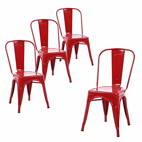 Red Chairs Set 4 (Buschman Metal Dining Chairs, Indoor/Outdoor and Stackable, Set of 4 (Red))