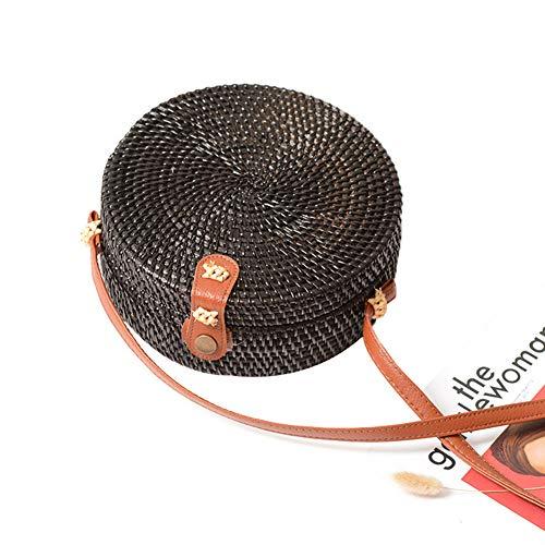 circular Negro tejida recorte Shootingstar mano paja bolsa estilo redonda playa tejida a hecha trenzada rattan Bohemia retro wqapRO