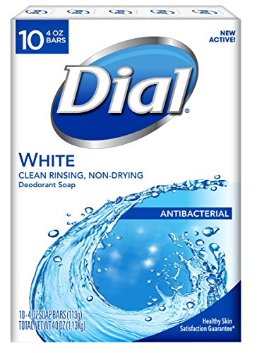 Dial Antibacterial Bar Soap, White, 4 Ounce, 10 Bars (Best Antibacterial Bath Soap)