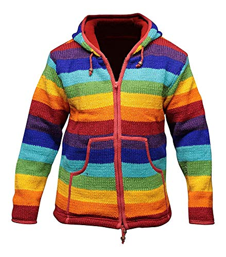 Retro Wool Jacket - Mens Rainbow Wool Hippy Jacket [XL]