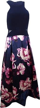Xscape Womens Navy Floral Hi-Low Ball Gown Evening Dress Petites 14P 618