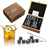 Whiskey Stones and Whiskey Glass Gift Set - Bourbon Scotch Whiskey Glass Set of 2 - Granite Chilling Rocks in Premium Wooden Box - Best Drinking Gifts for Men Dad Husband Birthday Holiday etc (Medium)