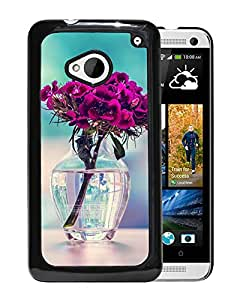 New Beautiful Custom Designed Cover Case For HTC ONE M7 With Purple Carnation In A Vase Flower Phone Case