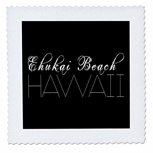 3dRose Alexis Design - American Beaches - American Beaches - Enukai Beach, Hawaii, white on black - 20x20 inch quilt square (qs_273970_8) by 3dRose