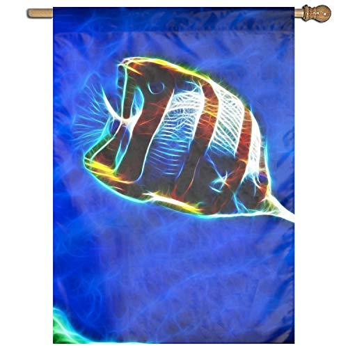(Home Decorative Outdoor 1 Sided Animal Butterflyfish Fish Garden Flag)