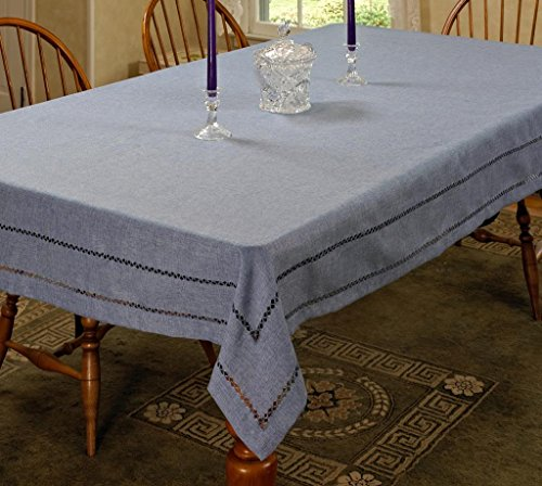 Violet Linen Hem Stitch Embroidered Vintage Design Oblong/Rectangle Tablecloth 54