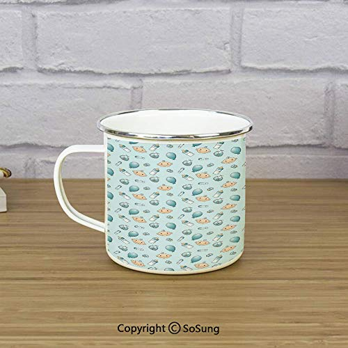 Baby Enamel Camping Mug Travel Cup,Infant Head with Balloons Pacifiers and Milk Bottles Newborn Inspired Decorative,11 oz Practical Cup for Kitchen, Campfire, Home, TravelBaby Blue Turquoise Tan