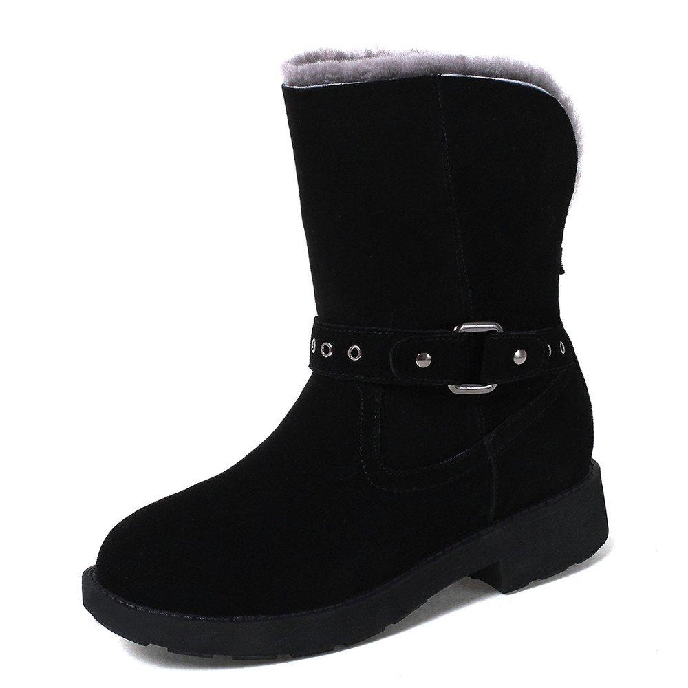 Nine Seven Suede Leather Women's Round Toe Low Heel Comfort Handmade Mid Calf Snow Boots (7, Black)