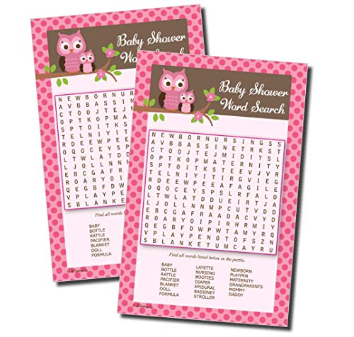 Word Find/Search - Baby Shower Game - Pink Owl (50-sheets) ()
