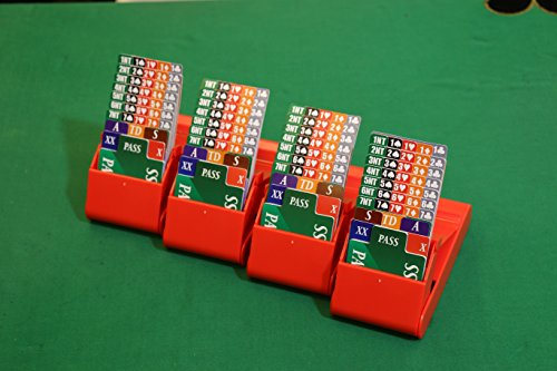 Bridge Bidding Boxes - Set of 4 High Famous LION Quality Plastic Cards Durable Carrying Case Washable Easy to Stack, Store and Transport Long Lasting Anti Slip Legs Available in Vivid Red Color