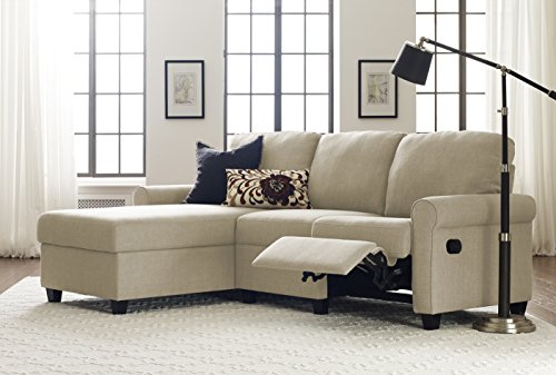 Serta Copenhagen Reclining Sectional with Left Storage Chaise - Dusk Beige Left Sectional