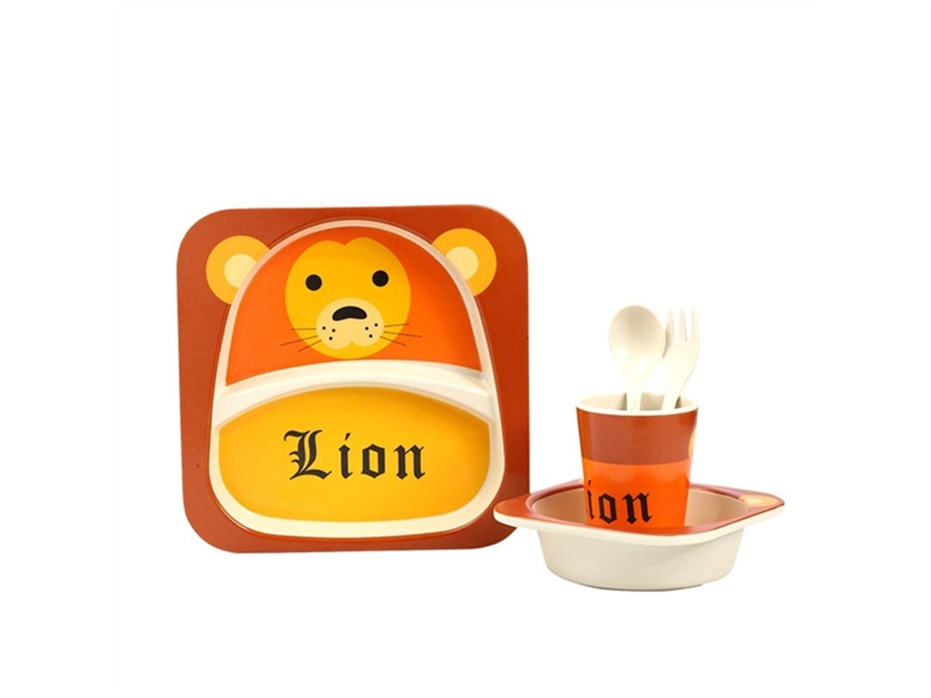 Yuchoi Contemporary Bamboo Fiber Cartoon Animal Dish Children Plate Fork Spoon Cup Set for Kids(Lion)