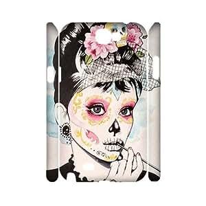 DIY Samsung Galaxy Note 2 N7100 Case, Zyoux Custom 3D Samsung Galaxy Note 2 N7100 Case Cover - Zombie Audrey Hepburn