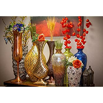 "DecorShore 20"" Amphora Nouveau Moorish Vase, Metal Floor Vase with Decorative Glass Mosaic Overlay (Chocolate Pearl Ombre)"