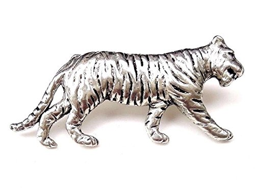 Fine Pewter Tiger Pin Badge with Gift Pouch