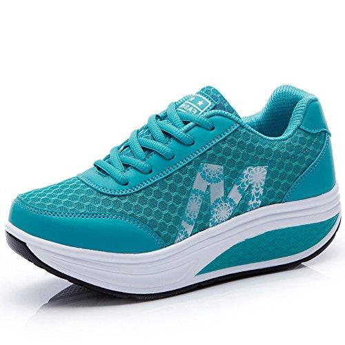 (CN-Porter Women's Platform Fitness Mesh Platform Sneaker Shake Shoes)