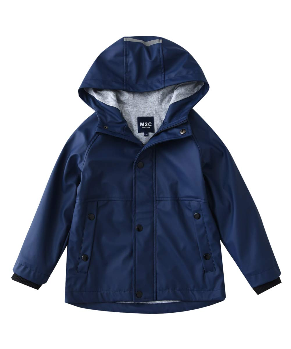 M2C Boys Hooded Cotton Lined Waterproof Rain Jackets Windproof Raincoats Navy 7/8 by M2C
