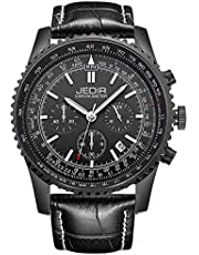 JEDIR Herrenuhren Chronograph Armbanduhr Classic Sport Quartz Analoges Zifferblatt mit Datumsfenster Metallgehäuse Weiches Lederband