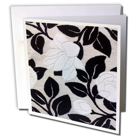 Lee Hiller Designs 50s Retro Print - White Roses and Black Leaves - 12 Greeting Cards with envelopes (gc_5035_2) ()